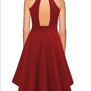 Dresses - Cocktail High Low Halter Top Red Dress